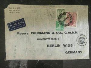 1939 Sydney Australia Cover Front to Germany Pohl Krech Via Greece