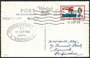 GB SCOTLAND CLYDE STEAMER 1963 postcard ex Gourock MV COWAL cachet.........13936