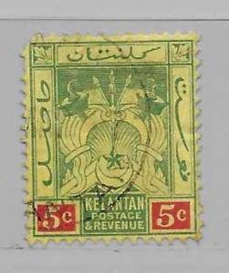 Malaya Kelantan 4 Symbols of Government single Used