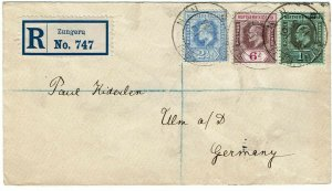 Northern Nigeria 1913 Zungeru cancel on registered cover to Germany