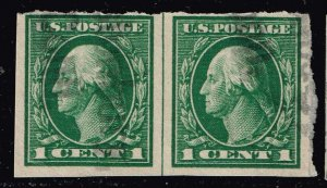 US STAMP #408 Series of 1912-14 1¢ Washington Imperforate USED LINE PAIR
