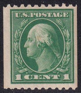 US STAMP #441 – 1914 1c Washington, green, coil  MH/OG crease
