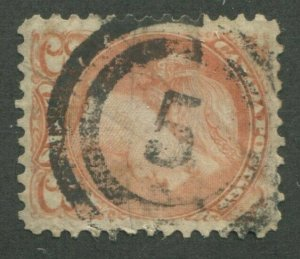 CANADA #37 USED SMALL QUEEN 2-RING NUMERAL CANCEL 5