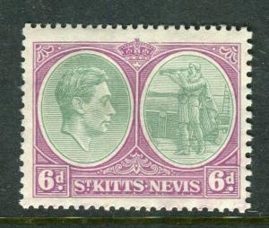 ST. KITTS; 1938 early GVI issue fine Mint hinged Shade of 6d. Perf 13x12 value