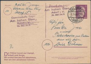 1945 Adorf Germany GemeinschaftsLager Postcard Cover to Bohemia Buchenwald kz