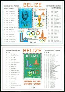 EDW1949SELL : BELIZE 1981 Scott #561-2 Olympics. Very Fine, Mint NH. Cat $100.00