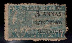 India - Travancore - Cochin Feudatory state Scott o6 Used Faulty