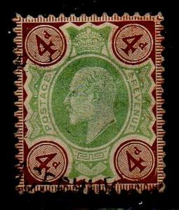 Great Brirain Sc 133 1902 4d gray brown & green Edward VII stamp used