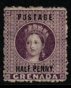 GRENADA SG21d 1881 ½d DEEP MAUVE NO HYPHEN VARIETY MTD MINT