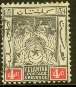 MALAYA KELANTAN 1911-15 4c SYMBOLS OF GOVERNMENT Issue Sc 3 VFU