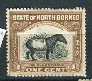 NORTH BORNEO; 1909 early Pictorial issue fine unused 1c. value