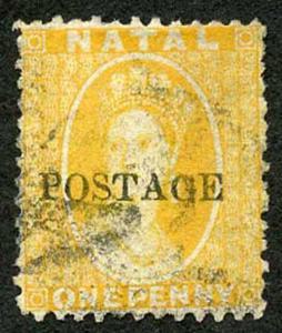 Natal SG82 1d Yellow opt POSTAGE