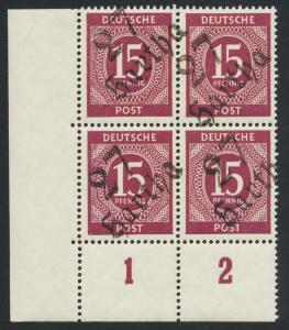 GERMANY - SOVIET ZONE  HARTHA BEZIRK 27  1948, 15pf BLOCK VF NH
