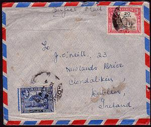 ADEN 1951 airmail cover to Ireland.......................32662