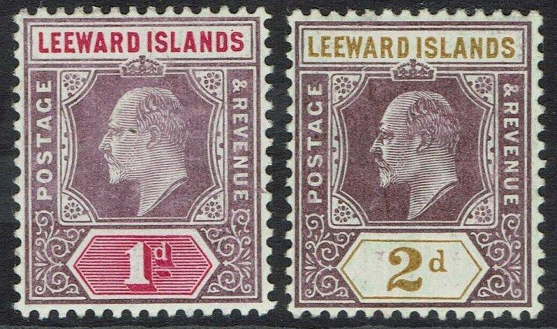 LEEWARD ISLANDS 1905 KEVII 1D AND 2D WMK MULTI CROWN CA
