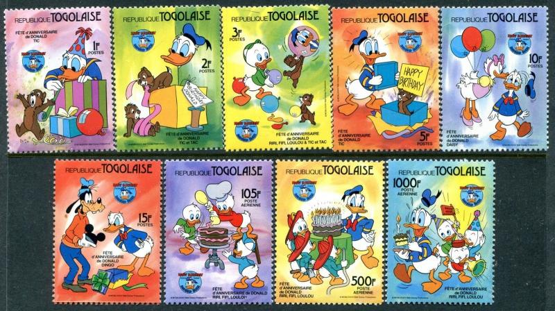 Togo 1230-1240 Disney characters 50th Ann of Donald Duck 1984 SCV-$36.10  x14666