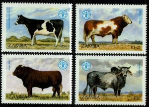 Zambia 418-21  MNH - World Food Day Cattle Cows (1987)