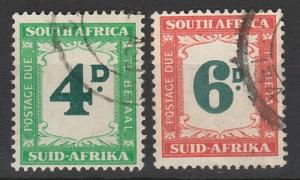 SOUTH AFRICA 1950 POSTAGE DUE 4D AND 6D HYPHENATED USED
