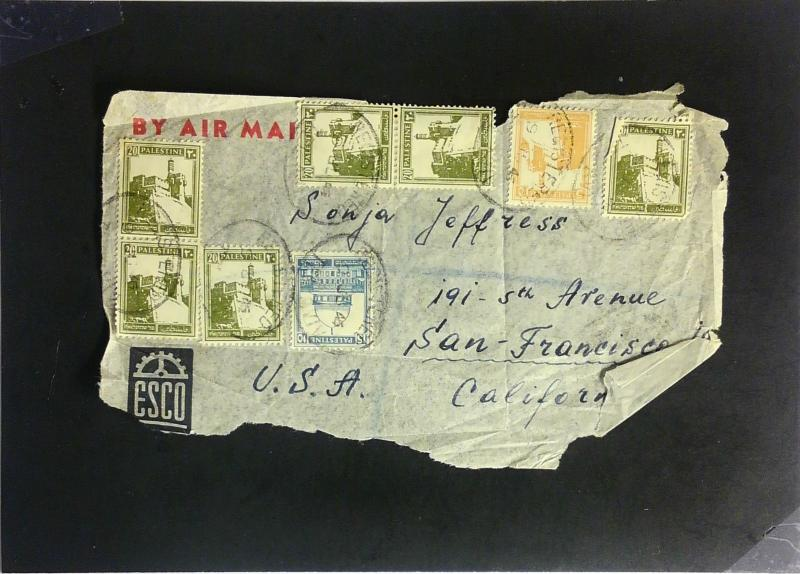Palestine 1945 Cover to USA (FRONT ONLY) - Z2283