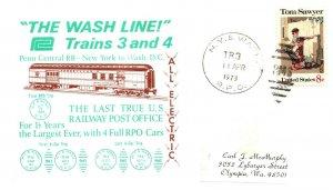 1973 N.Y. & Wash. R.P.O.Railroad+The Wash Line Trains 3 and 4 Cachet #102