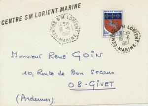 France 20c Saint-Lo Arms 1967 Centre S M Lorient, Marine Postcard to Givet wi...