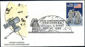 10 COVERS, 1989, 20TH ANNIVERSARY OF MOON LANDING STAMP WITH CACHET & CANCEL