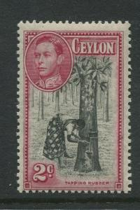 Ceylon -Scott 278a - KGVI Definitive Issue - 1938 - MVLH - Single 2c Stamp