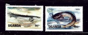 Uganda 434-35 Used 1985 Fish partial set