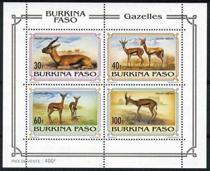 BURKINA FASO SHEET MNH GAZELLES WILDLIFE