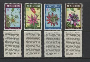 Montserrat #288-91 VFMNH (1973 Easter Flowers set) VFMNH CV $4.50
