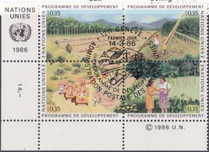 UN GENEVA MNH/CTO Scott # 141-144 UN Development Corner Block (4 Stamps) -1 (2)