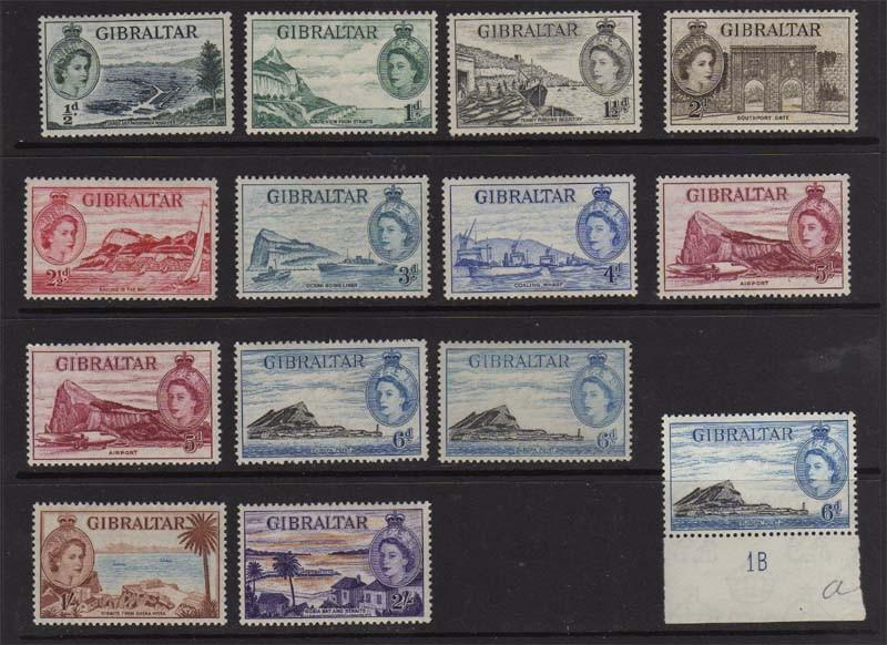 Gibraltar 1951 SG 145-155 and 152a,153a,153b MH