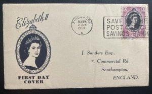1953 Singapore Malaya Johore first day cover Queen Elizabeth II Coronation QE2