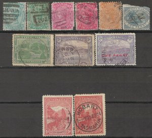 COLLECTION LOT OF #1757 AUSTRALIA STATE TASMANIA  11 STAMPS 1870+ CV=$26
