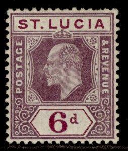 ST. LUCIA EDVII SG72a, 6d dull purple & violet, M MINT. Cat £20. CHALKY