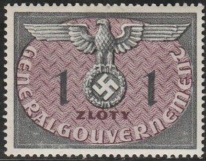 Stamp Germany Poland General Gov't Official Mi 13 Sc NO13 1940 WW2 War Era MH