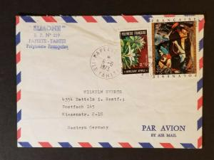 1973 Papeete Tahiti to Berlin Germany Simone Advertising Air Mail Cover