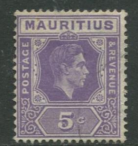 Mauritius - Scott 214 - KGVI Definitives -1938 - FU - Single 5c Stamp