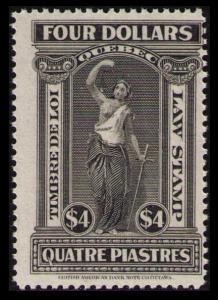 CANADA, QUEBEC TAX 1912 $4. #QL68 MNG NH RARE VINTAGE LAW STAMP CAT $40.00