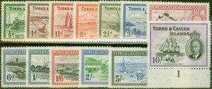 Turks & Caicos Is 1950 set of 13 SG221-233 V.F Very Lightly Mtd Mint