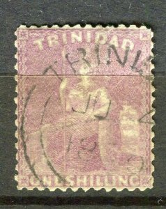 TRINIDAD; 1870s early classic QV issue used Shade of 1s. value