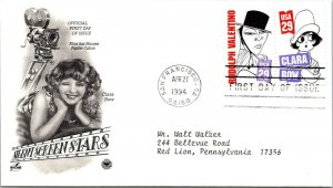 Silent Screen Stars Clara bow First Day Cover 1994 cachet