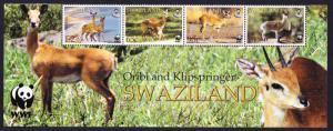 Swaziland WWF Klipspringer and Oribi Bottom Strip of 4v with WWF Logo SG#704-707