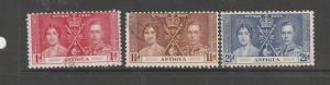 Antigua 1937 Coronation FU SG 95/7