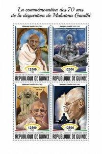 HERRICKSTAMP NEW ISSUES GUINEA Mahatma Gandhi Sheetlet
