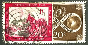 UNITED NATIONS #1, 8 USED
