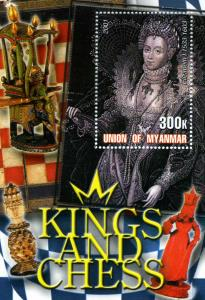 Union of Myanmar 2001 Kings and Chess Elizabeth I s/s Perforated mnh.vf