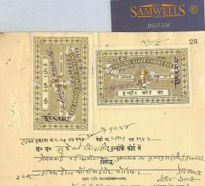 India States INDORE Document REVENUES 2 x 10a Court Fee {samwells-covers}MS2508*