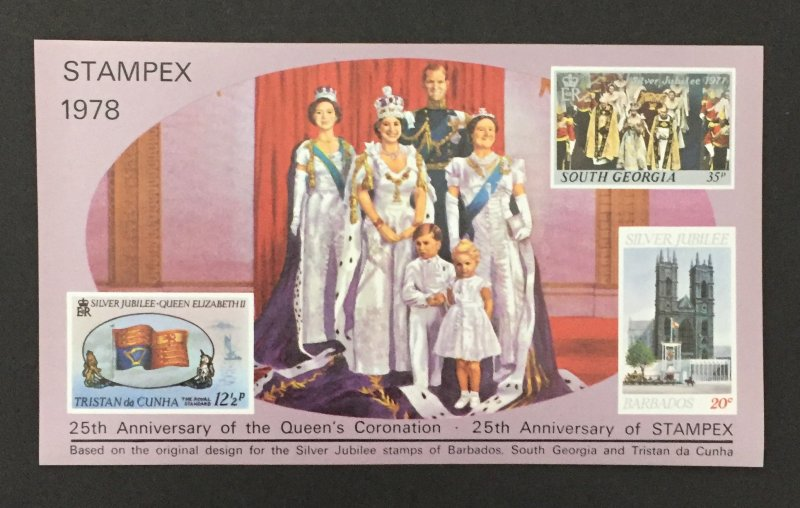 Cinderella 1978 Stampex S/S, Queen's Coronation-25th, MNH.