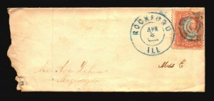 US 1860s Rockland ILL Cover / Blue Target Cancel - L4778
